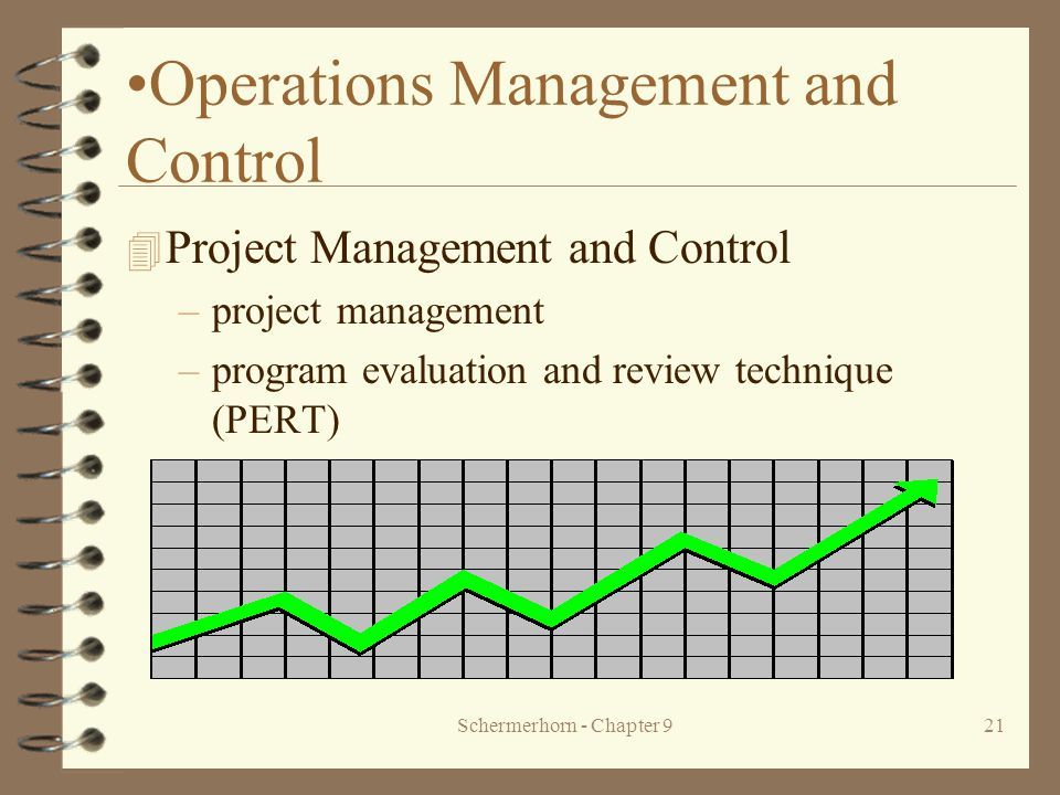 Schermerhorn - Chapter 921 Operations Management and Control 4 Project Management and Control –project management –program evaluation and review technique (PERT)