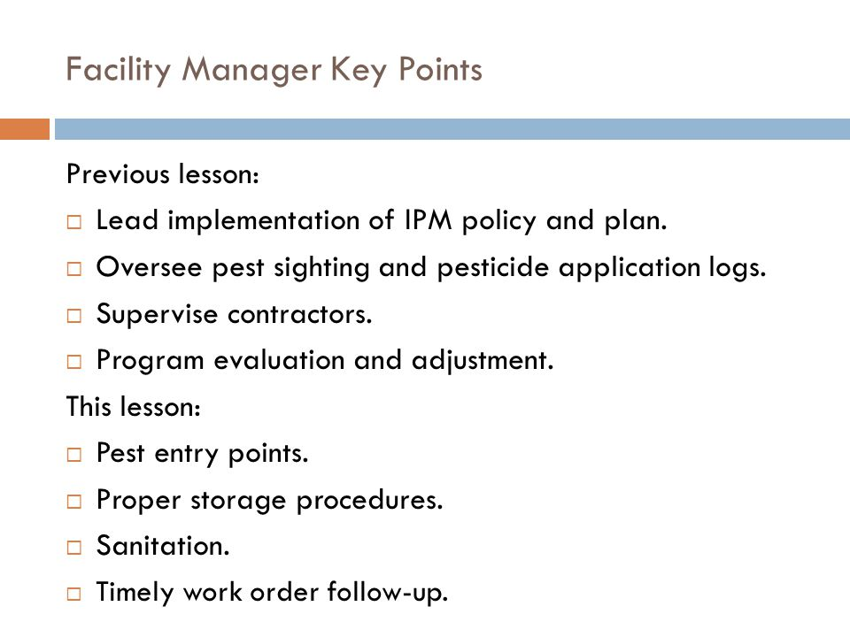 Self-Guided Facility Manager Module Lesson 2 of 3 FACILITY MANAGER