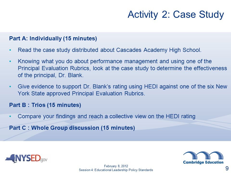 Activity 2: Case Study Part A: Individually (15 minutes) Read the case study distributed about Cascades Academy High School.