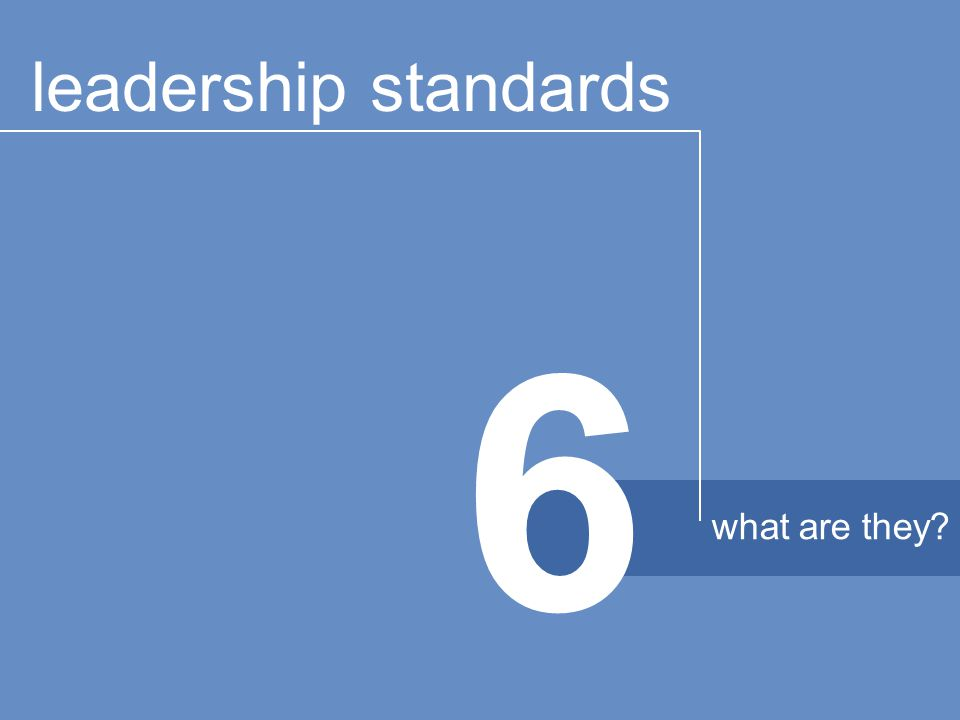 6 leadership standards what are they