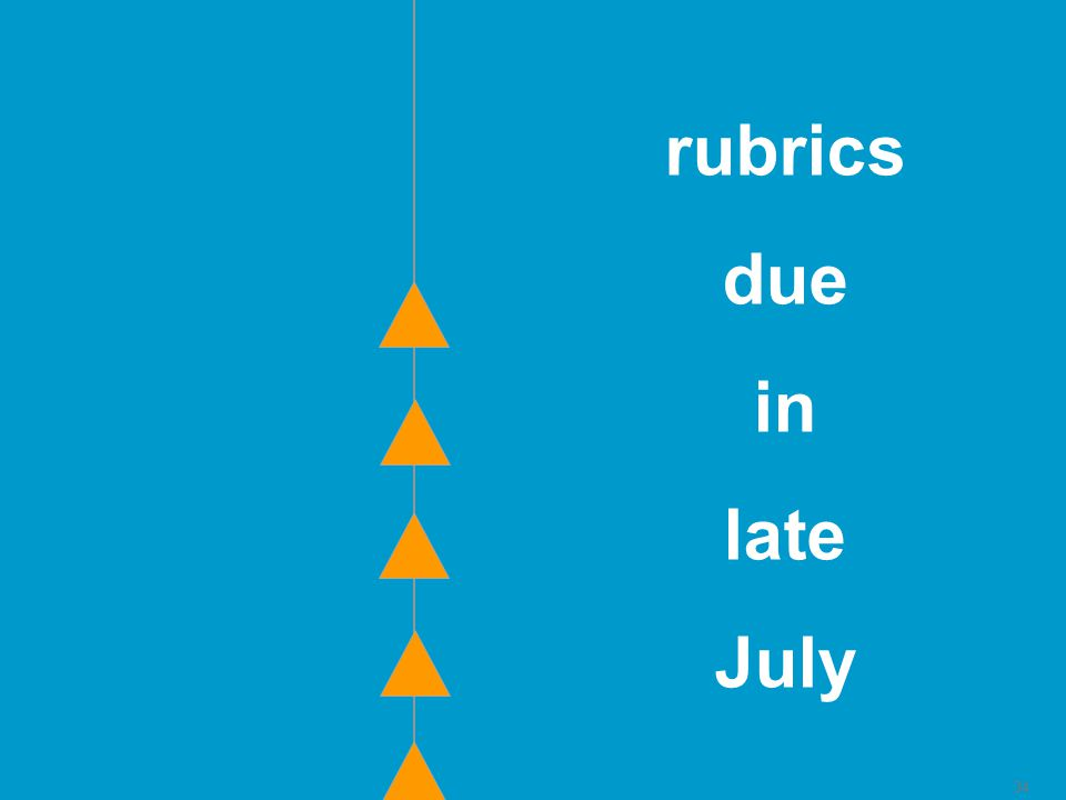 34 rubrics due in late July