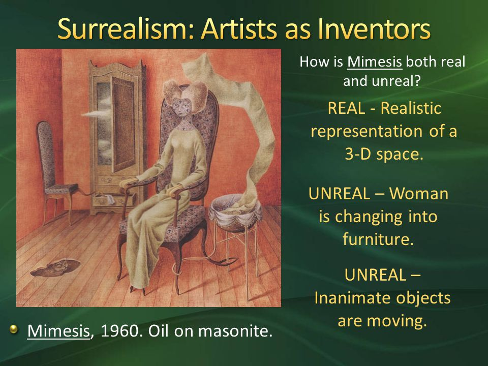 Mimesis, Oil on masonite. How is Mimesis both real and unreal.