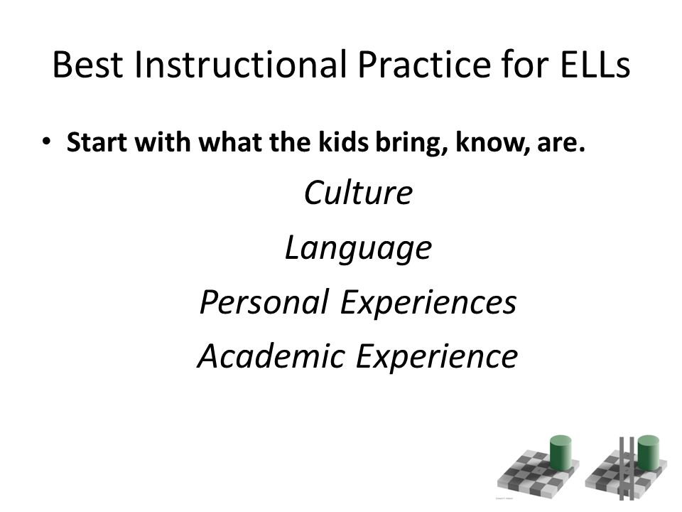Best Instructional Practice for ELLs Start with what the kids bring, know, are.