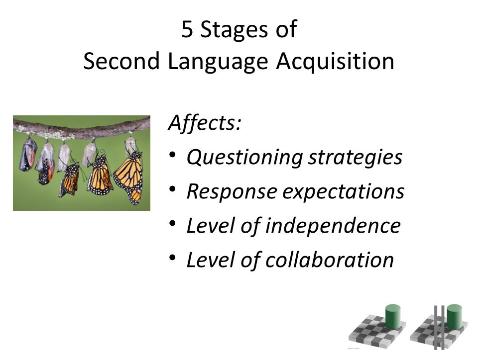 5 Stages of Second Language Acquisition Affects: Questioning strategies Response expectations Level of independence Level of collaboration
