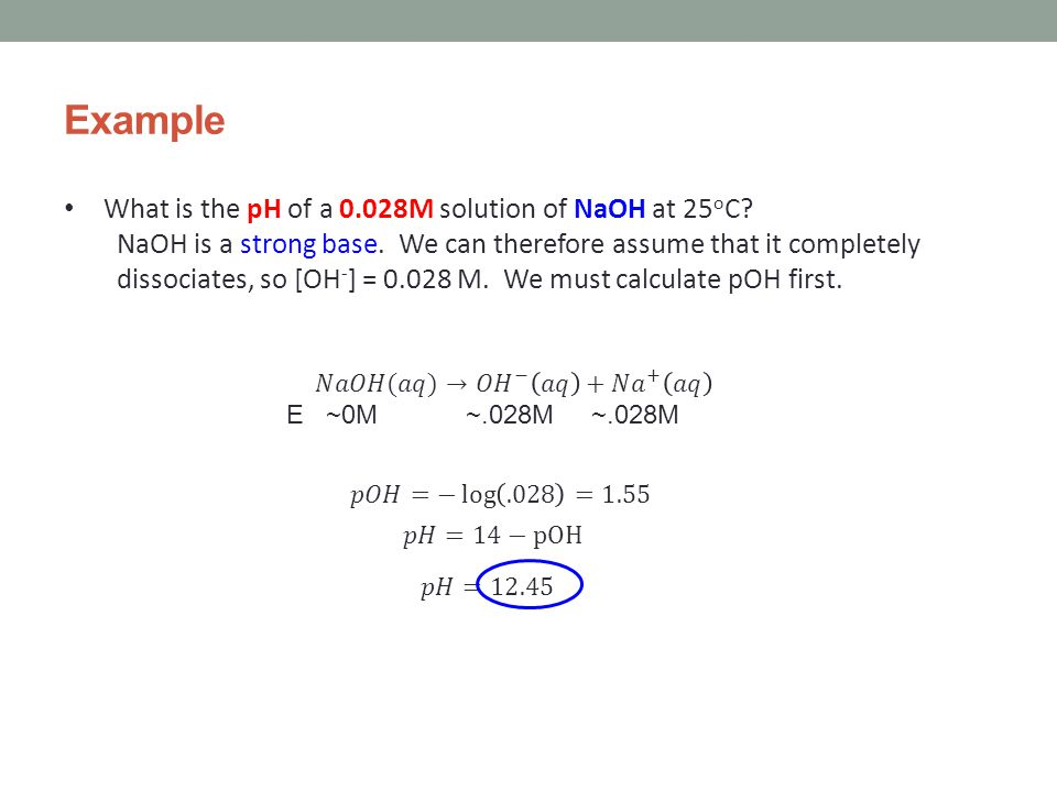 Example What is the pH of a 0.028M solution of NaOH at 25 o C.