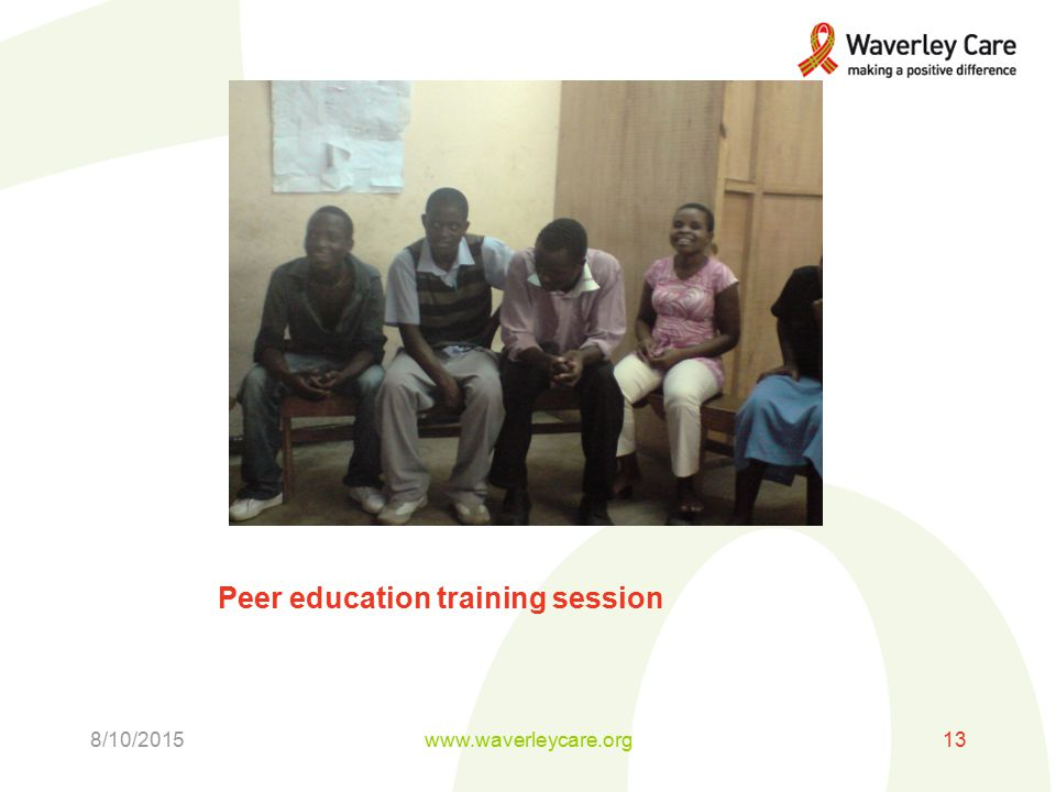 Peer education training session 8/10/2015www.waverleycare.org13