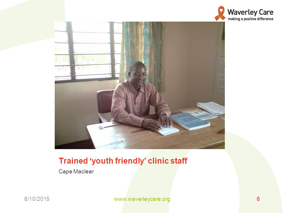 Trained 'youth friendly' clinic staff Cape Maclear 8/10/2015www.waverleycare.org6