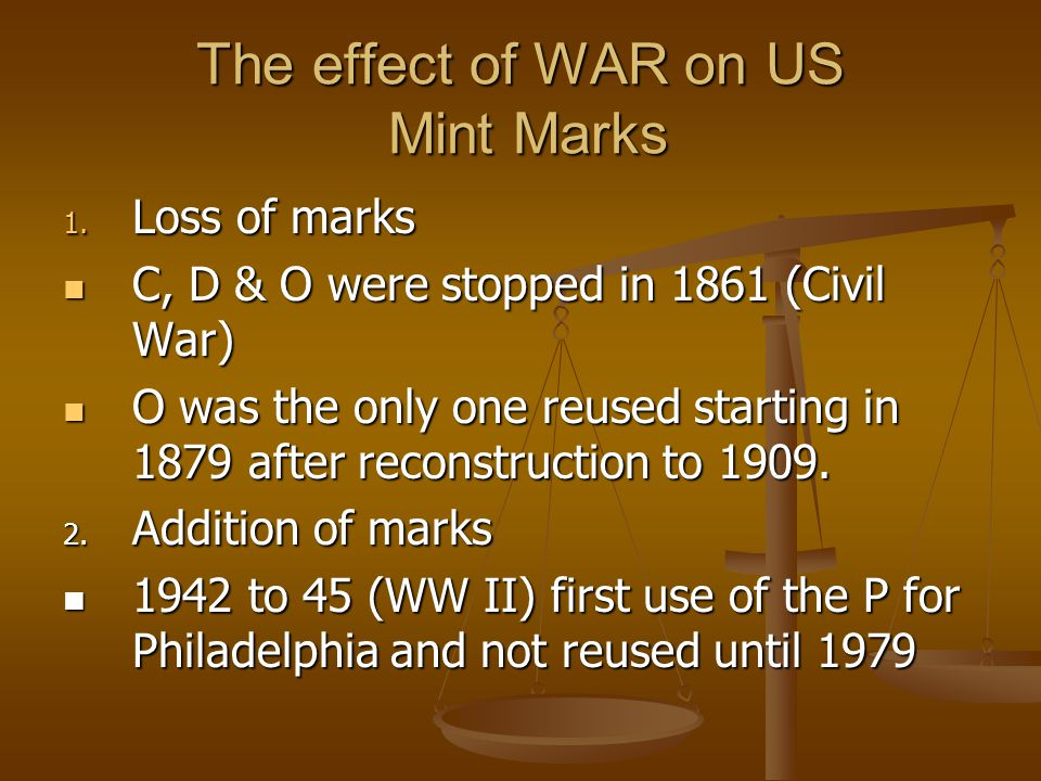 The effect of WAR on US Mint Marks 1.