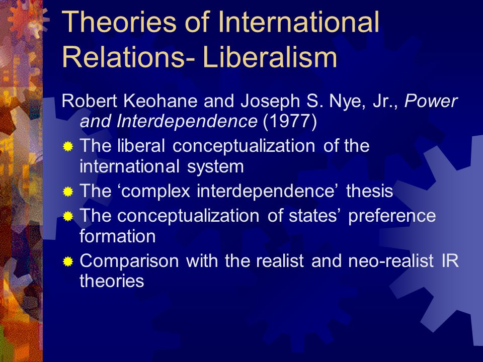 Theories of International Relations- Liberalism Robert Keohane and Joseph S.