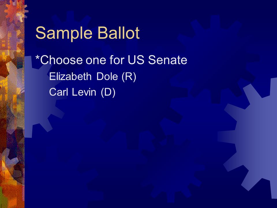 Sample Ballot *Choose one for US Senate Elizabeth Dole (R) Carl Levin (D)