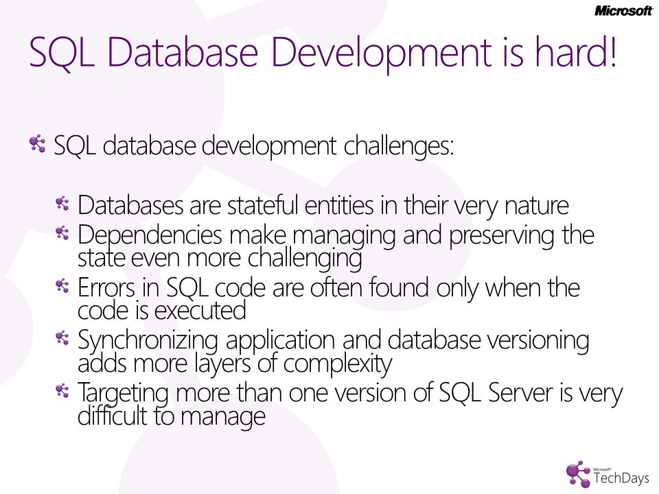 SQL Database Development is hard.
