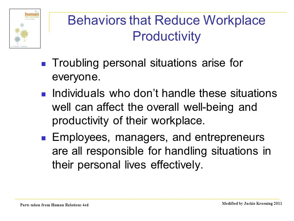 Parts taken from Human Relations 4ed Modified by Jackie Kroening 2011 Behaviors that Reduce Workplace Productivity Troubling personal situations arise for everyone.