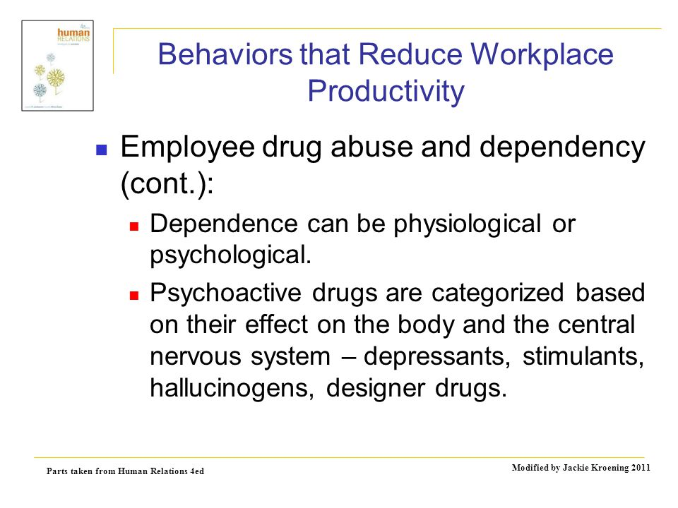 Parts taken from Human Relations 4ed Modified by Jackie Kroening 2011 Behaviors that Reduce Workplace Productivity Employee drug abuse and dependency (cont.): Dependence can be physiological or psychological.