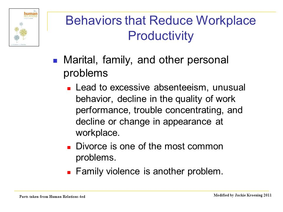 Parts taken from Human Relations 4ed Modified by Jackie Kroening 2011 Behaviors that Reduce Workplace Productivity Marital, family, and other personal problems Lead to excessive absenteeism, unusual behavior, decline in the quality of work performance, trouble concentrating, and decline or change in appearance at workplace.