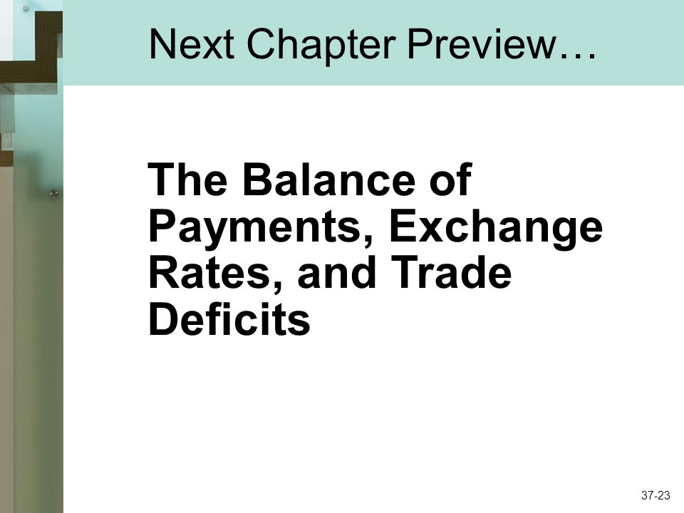Next Chapter Preview… The Balance of Payments, Exchange Rates, and Trade Deficits 37-23