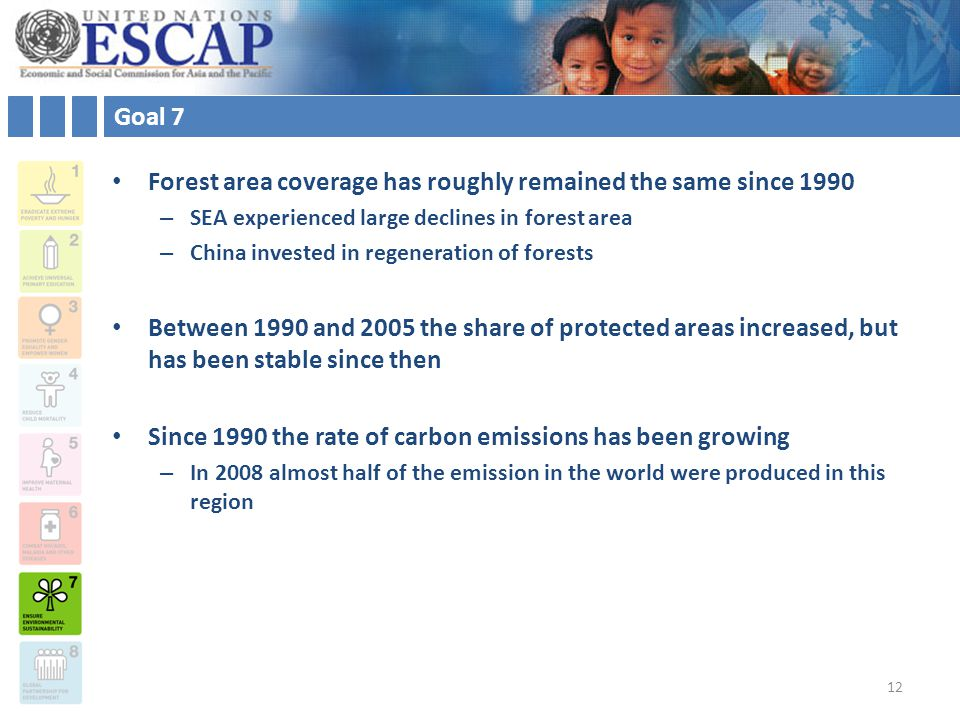 Goal 7 Forest area coverage has roughly remained the same since 1990 – SEA experienced large declines in forest area – China invested in regeneration of forests Between 1990 and 2005 the share of protected areas increased, but has been stable since then Since 1990 the rate of carbon emissions has been growing – In 2008 almost half of the emission in the world were produced in this region 12