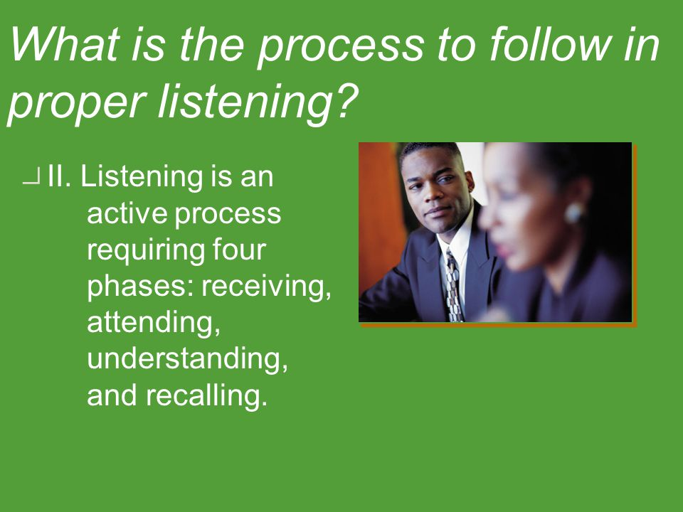 Identify the phases of the listening process. Objective Two