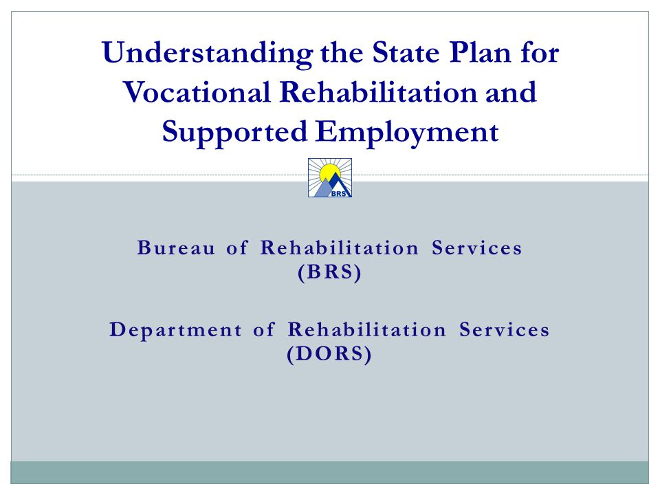 Bureau of Rehabilitation Services (BRS) Department of Rehabilitation Services (DORS) Understanding the State Plan for Vocational Rehabilitation and Supported Employment 1