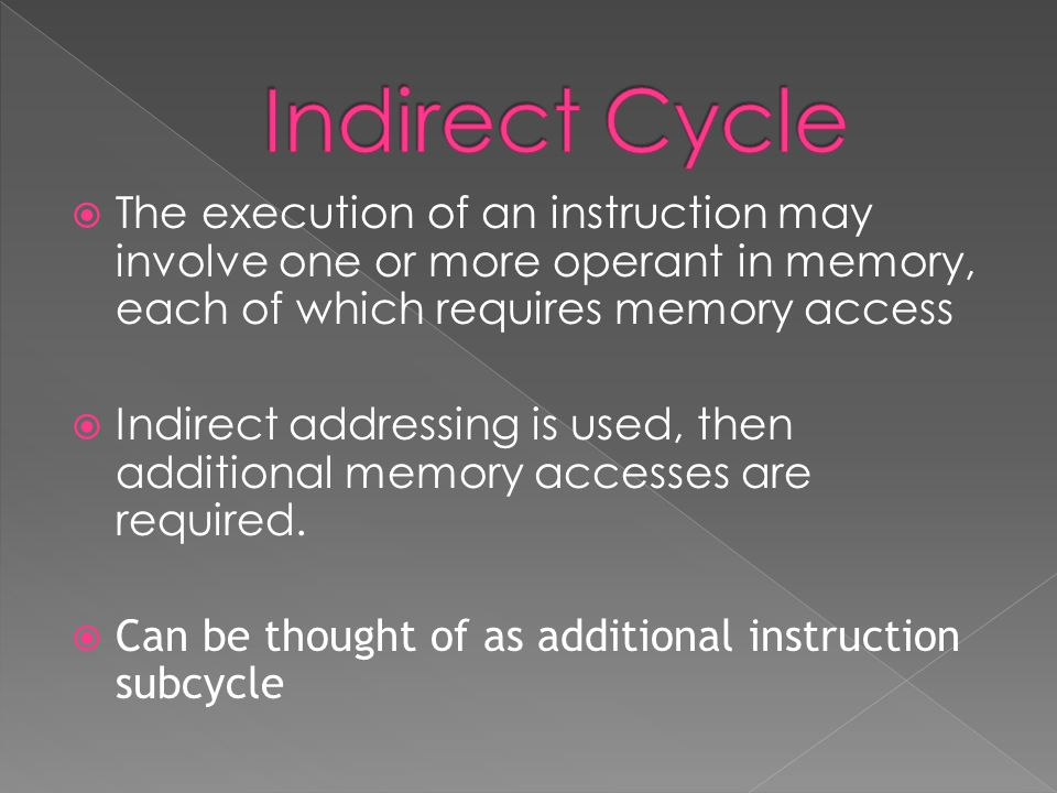 The execution of an instruction may involve one or more operant in memory, each of which requires memory access  Indirect addressing is used, then additional memory accesses are required.