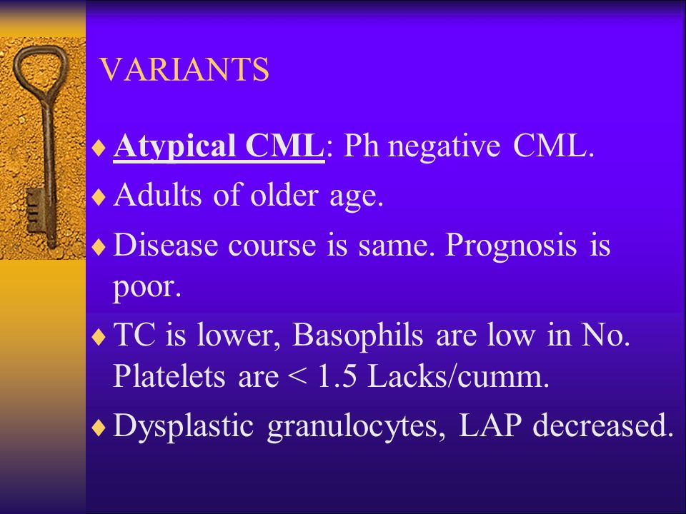 VARIANTS  Atypical CML: Ph negative CML.  Adults of older age.