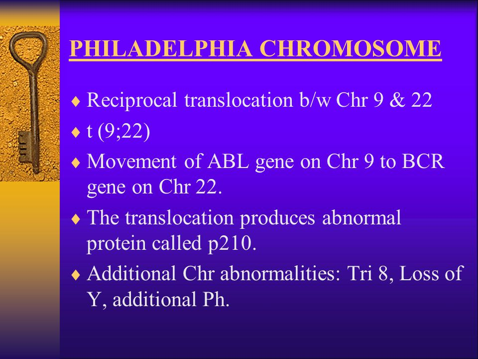 PHILADELPHIA CHROMOSOME  Reciprocal translocation b/w Chr 9 & 22  t (9;22)  Movement of ABL gene on Chr 9 to BCR gene on Chr 22.