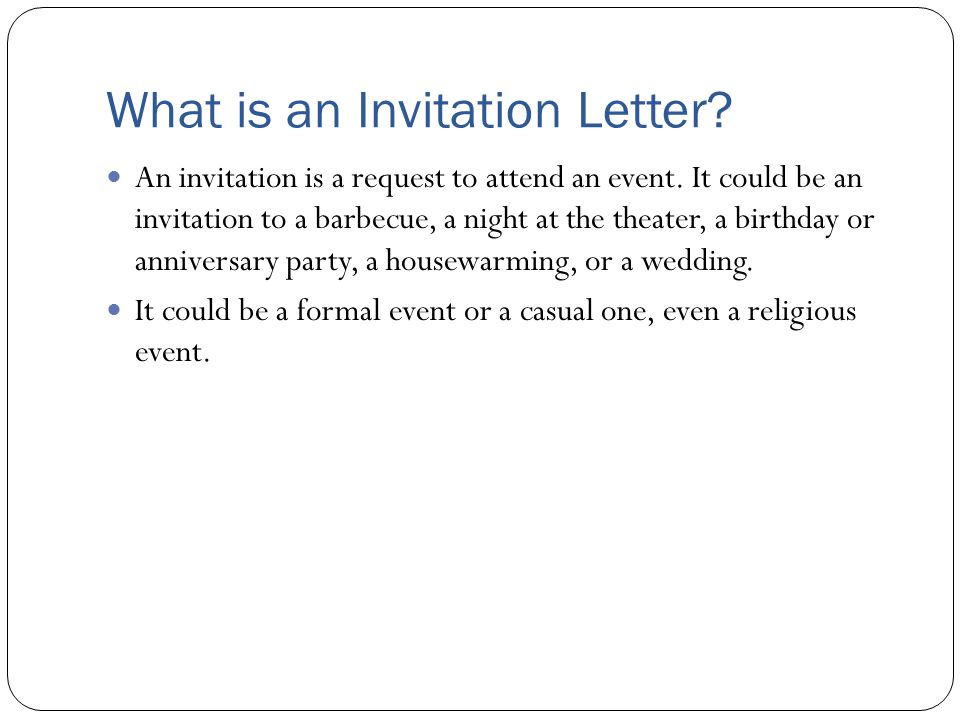 what is an invitation letter an invitation is a request to attend an event