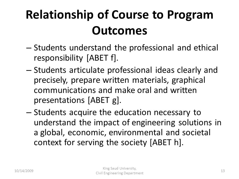 Relationship of Course to Program Outcomes – Students understand the professional and ethical responsibility [ABET f].