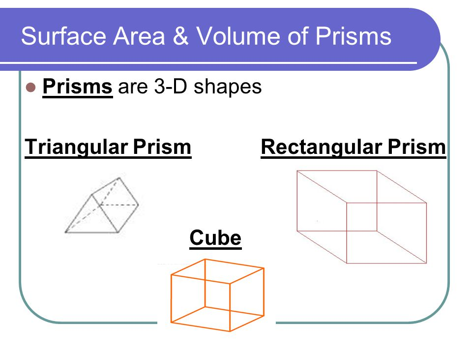 area and prism A typical problem involving the volume or surface area of a prism gives us one or more of the volume, lateral area, area of a base, height and/or radius of the prism we will be required to calculate some.