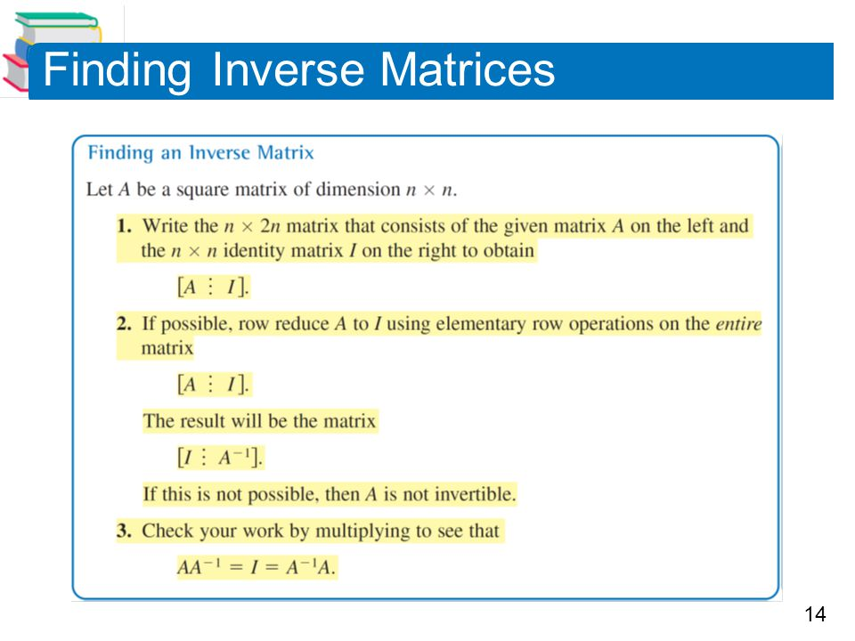 14 Finding Inverse Matrices
