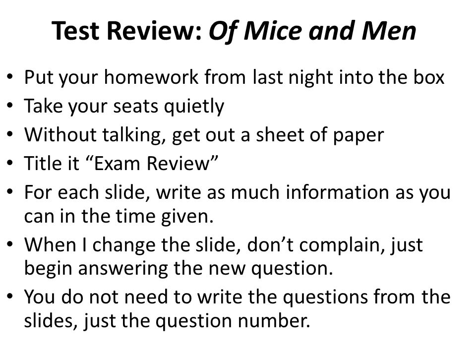 Of Mice And Men Exam Review October 3 Test Review Of Mice