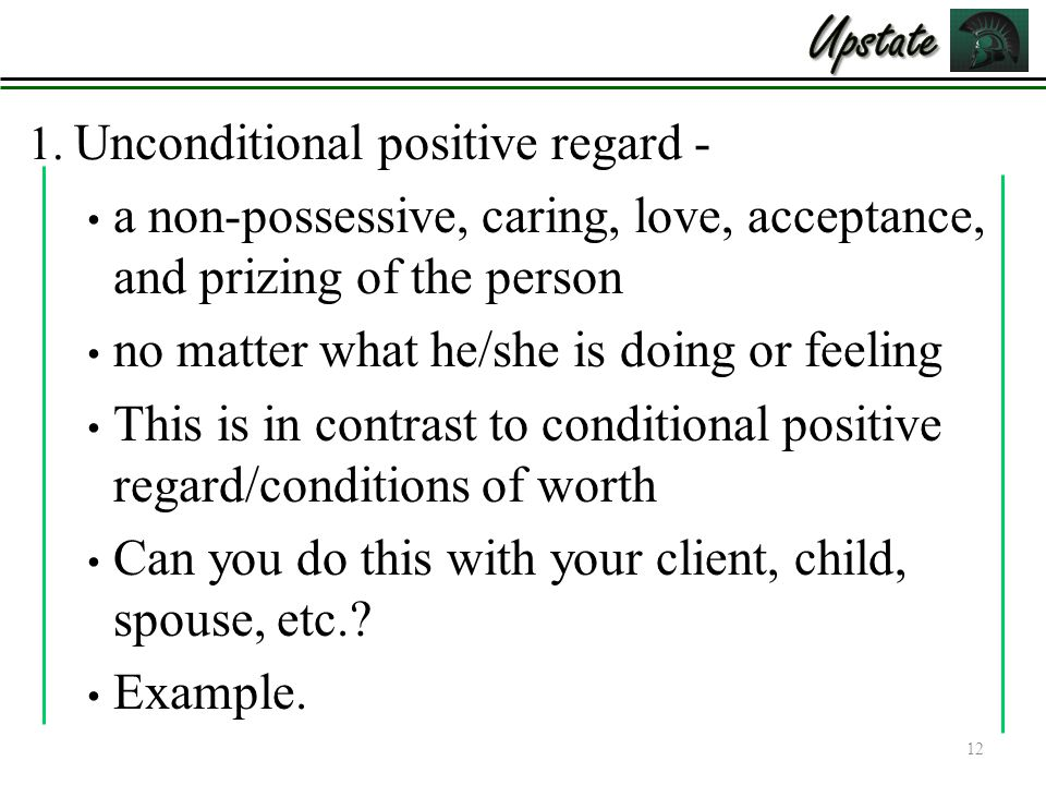 The unconditional positive regard: best parenting strategy.