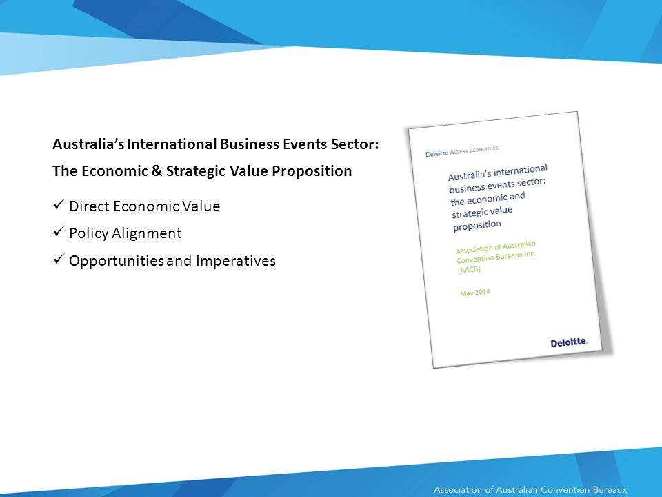 Australia's International Business Events Sector: The Economic & Strategic Value Proposition Direct Economic Value Policy Alignment Opportunities and Imperatives