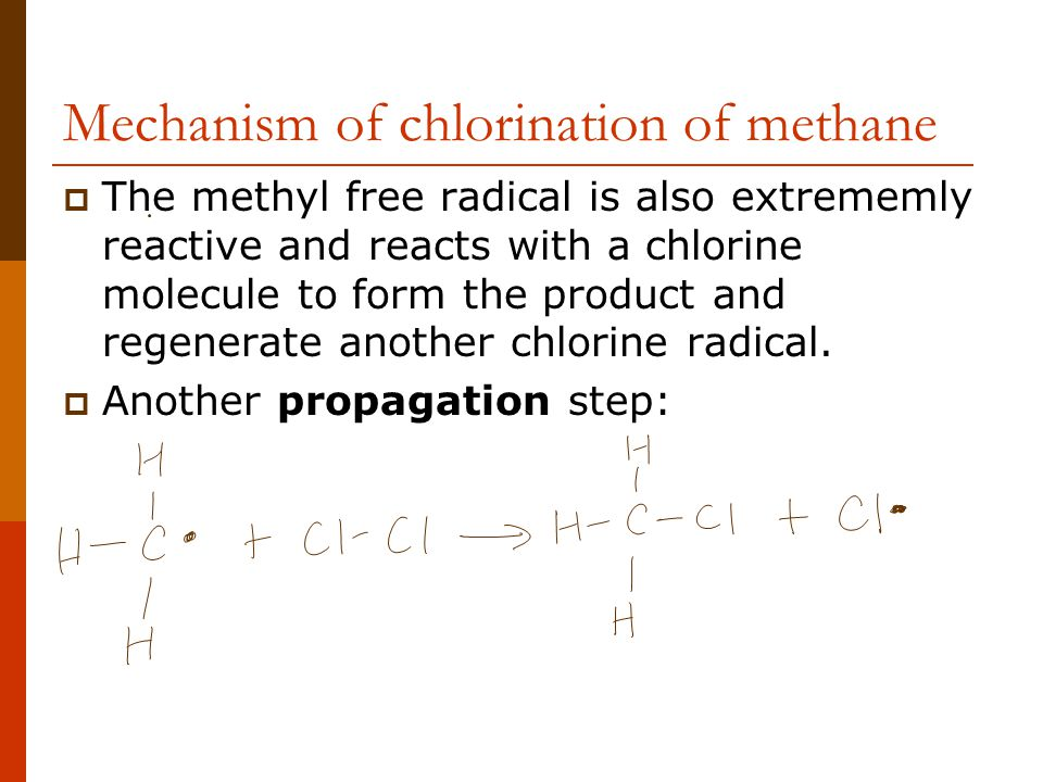 Mechanism of chlorination of methane  The methyl free radical is also extrememly reactive and reacts with a chlorine molecule to form the product and regenerate another chlorine radical.