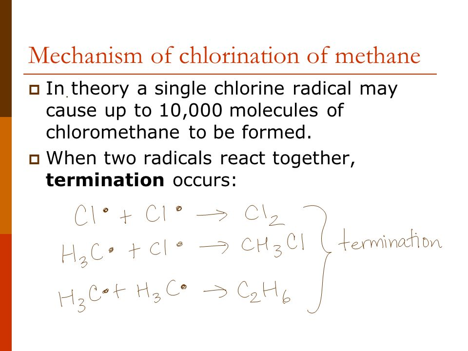 Mechanism of chlorination of methane  In theory a single chlorine radical may cause up to 10,000 molecules of chloromethane to be formed.