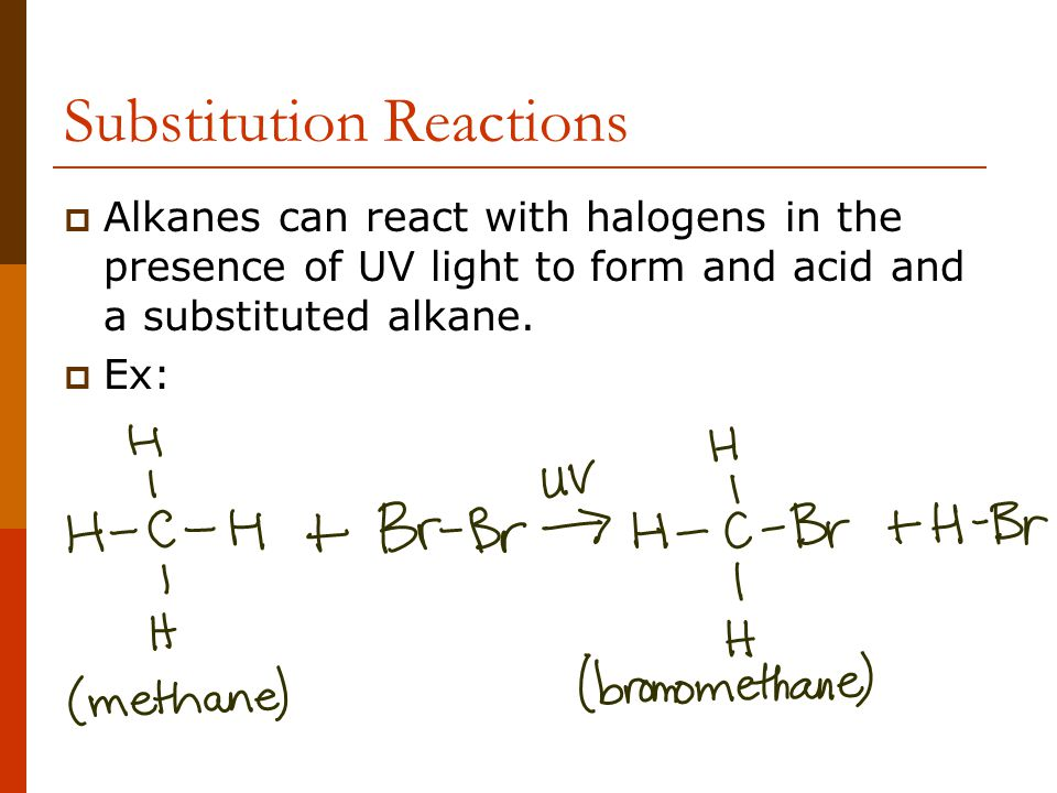 Substitution Reactions  Alkanes can react with halogens in the presence of UV light to form and acid and a substituted alkane.