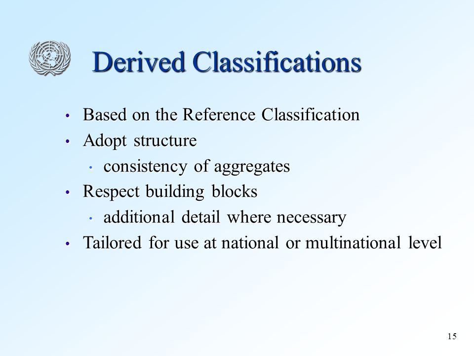 15 Derived Classifications Based on the Reference Classification Based on the Reference Classification Adopt structure Adopt structure consistency of aggregates consistency of aggregates Respect building blocks Respect building blocks additional detail where necessary additional detail where necessary Tailored for use at national or multinational level Tailored for use at national or multinational level