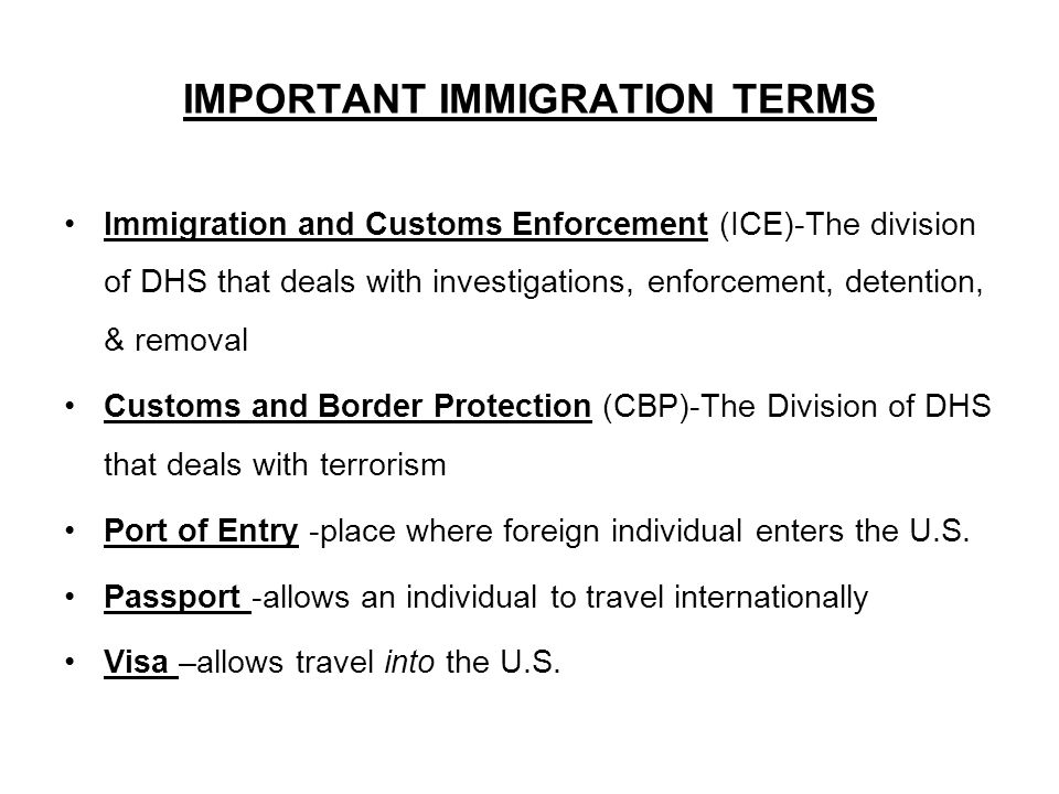 IMPORTANT IMMIGRATION TERMS Immigration and Customs Enforcement (ICE)-The division of DHS that deals with investigations, enforcement, detention, & removal Customs and Border Protection (CBP)-The Division of DHS that deals with terrorism Port of Entry -place where foreign individual enters the U.S.