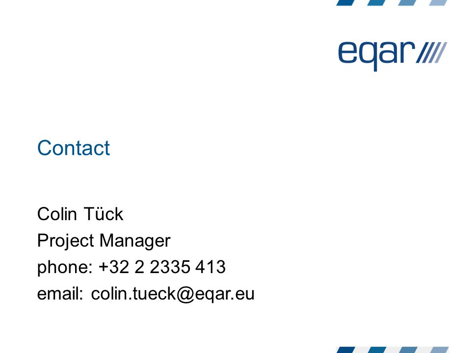 Contact Colin Tück Project Manager phone: