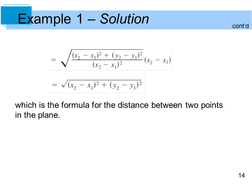 14 Example 1 – Solution which is the formula for the distance between two points in the plane.