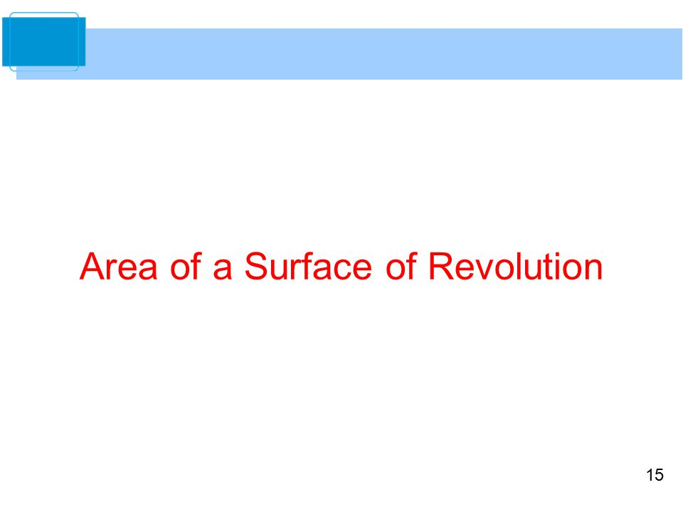 15 Area of a Surface of Revolution