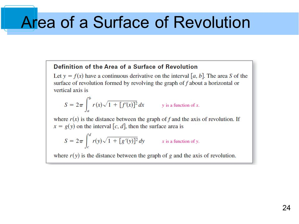 24 Area of a Surface of Revolution