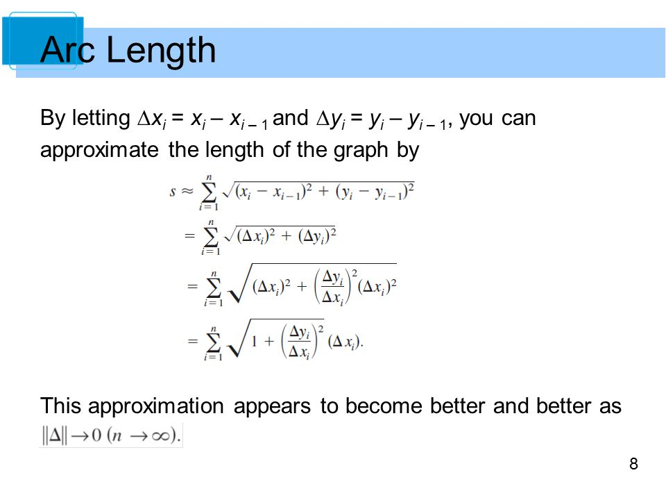 8 By letting  x i = x i – x i – 1 and  y i = y i – y i – 1, you can approximate the length of the graph by This approximation appears to become better and better as Arc Length
