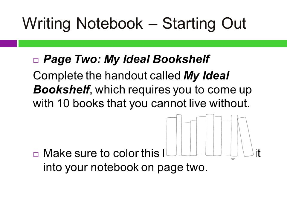 11 Writing Notebook Starting Out Page Two My Ideal Bookshelf Complete The Handout Called Which Requires You To Come Up With 10