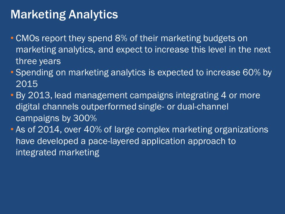 CMOs report they spend 8% of their marketing budgets on marketing analytics, and expect to increase this level in the next three years Spending on marketing analytics is expected to increase 60% by 2015 By 2013, lead management campaigns integrating 4 or more digital channels outperformed single- or dual-channel campaigns by 300% As of 2014, over 40% of large complex marketing organizations have developed a pace-layered application approach to integrated marketing