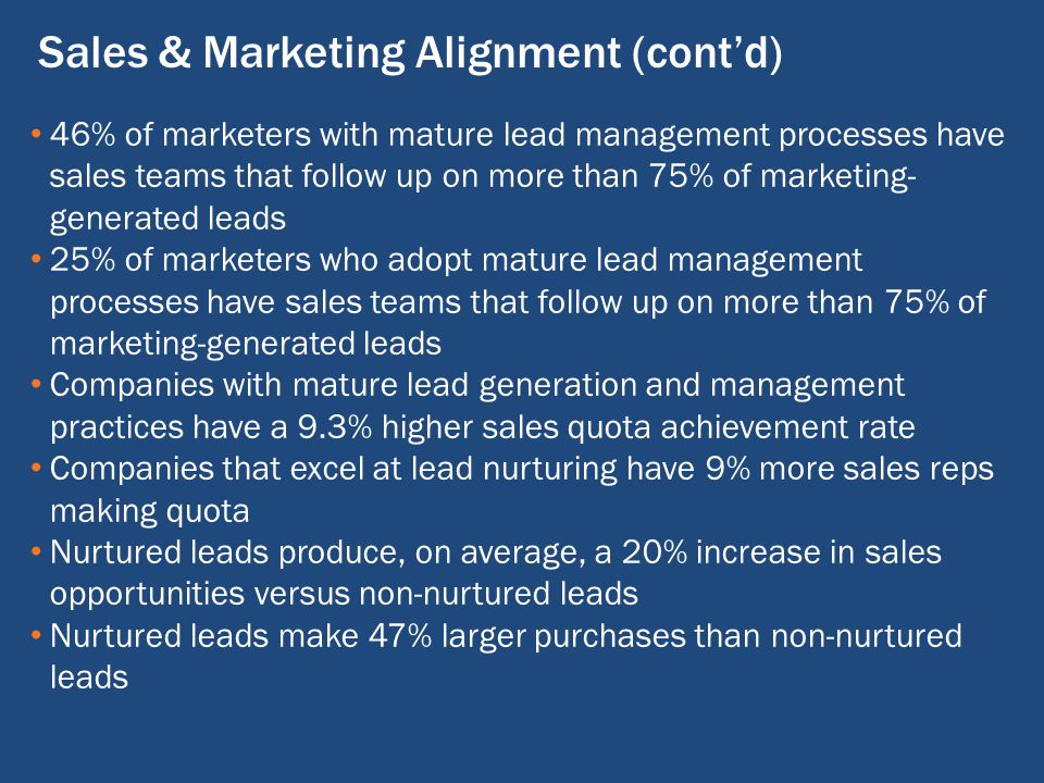 Sales & Marketing Alignment (cont'd) 46% of marketers with mature lead management processes have sales teams that follow up on more than 75% of marketing- generated leads 25% of marketers who adopt mature lead management processes have sales teams that follow up on more than 75% of marketing-generated leads Companies with mature lead generation and management practices have a 9.3% higher sales quota achievement rate Companies that excel at lead nurturing have 9% more sales reps making quota Nurtured leads produce, on average, a 20% increase in sales opportunities versus non-nurtured leads Nurtured leads make 47% larger purchases than non-nurtured leads