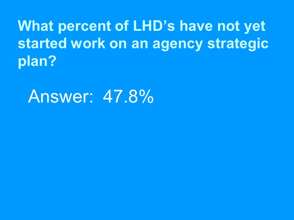 What percent of LHD's have not yet started work on an agency strategic plan Answer: 47.8%