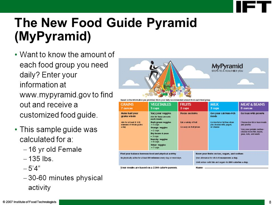 2007 institute of food technologists 8 the new food guide pyramid mypyramid want