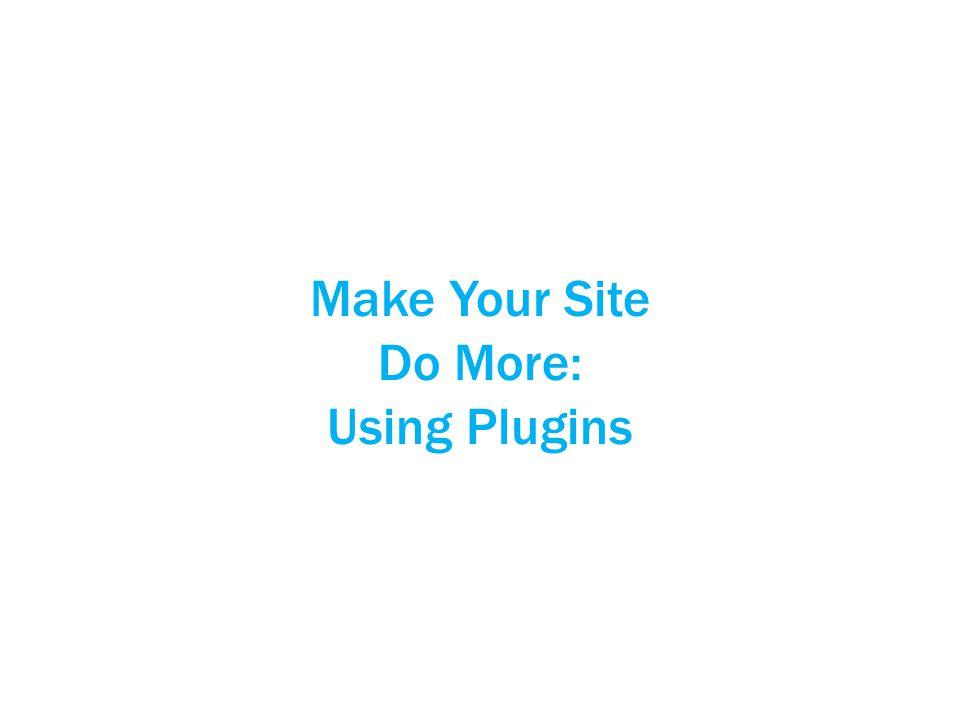 Make Your Site Do More: Using Plugins