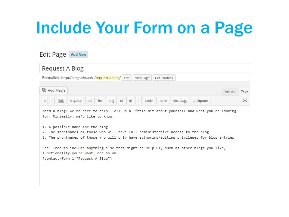 Include Your Form on a Page