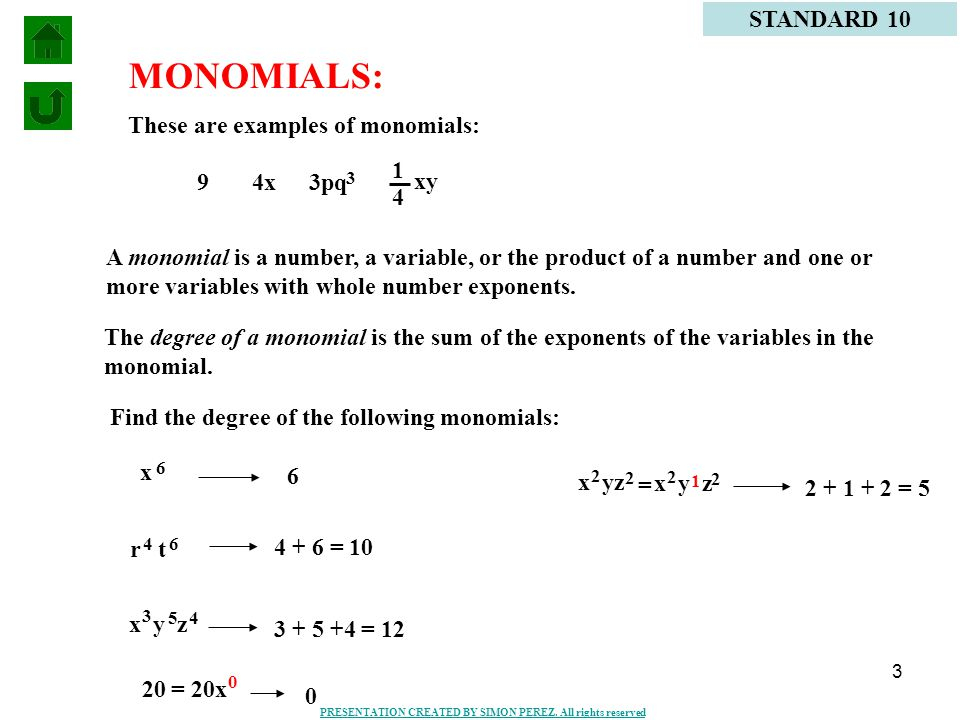 1 Definition Of Monomials Problems Standard 10 Definition Of